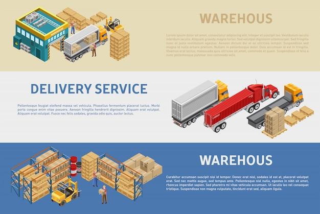説明付きの倉庫と配送サービスの図 Premiumベクター