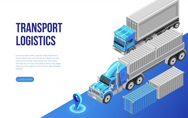 ウェブサイトの説明に近いトラックと貨物コンテナ Premiumベクター