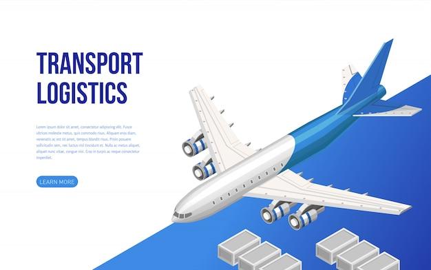 Изометрический веб-дизайн о транспортной логистике Premium векторы