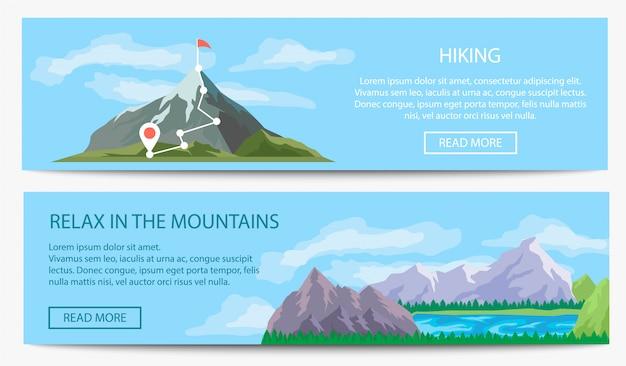 Набор баннеров для экстремальных путешествий и походов Premium векторы