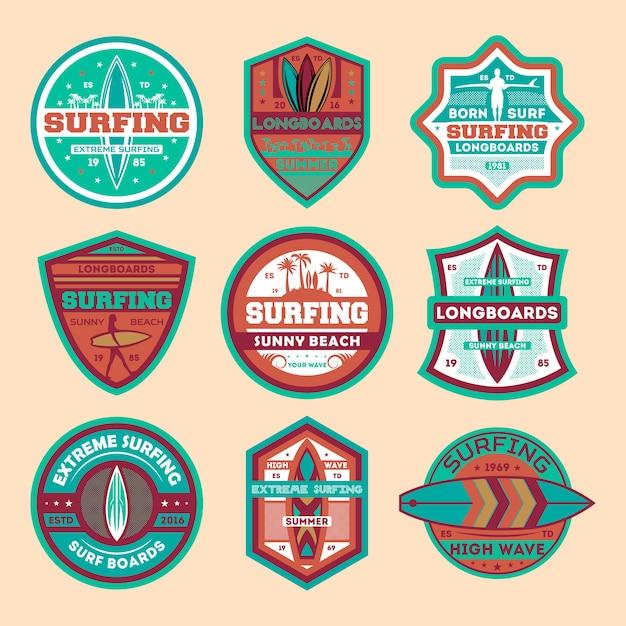 Экстремальный серфинг лагерь винтаж изолированных значок набор Premium векторы