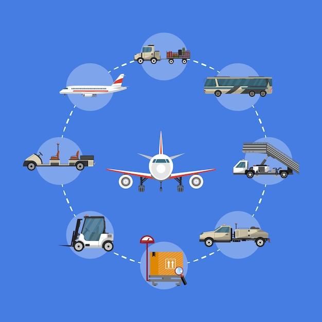 Иллюстрация аэропорта с наземной техникой Premium векторы