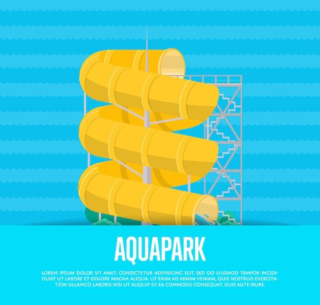 Аквапарк постер с водной горкой Premium векторы