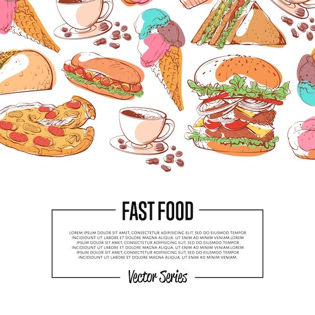 Постер быстрого питания с меню на вынос Premium векторы