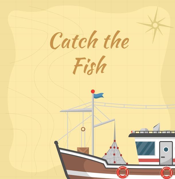 Поймай иллюстрацию рыбы с коммерческой маленькой лодкой Premium векторы