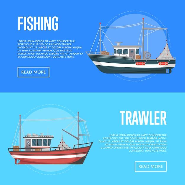 Баннеры рыболовной компании с траулерами Premium векторы