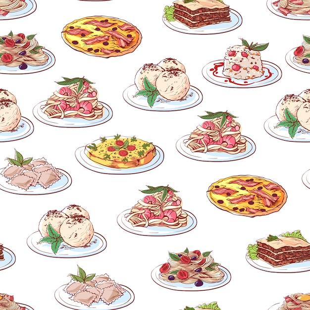 Шаблон блюда итальянской кухни на белом фоне Premium векторы