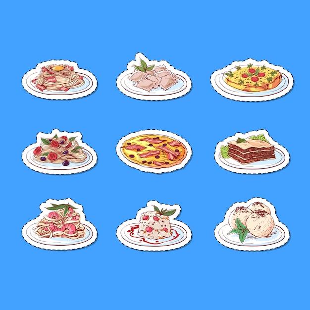 Блюда итальянской кухни изолированные наклейки Premium векторы