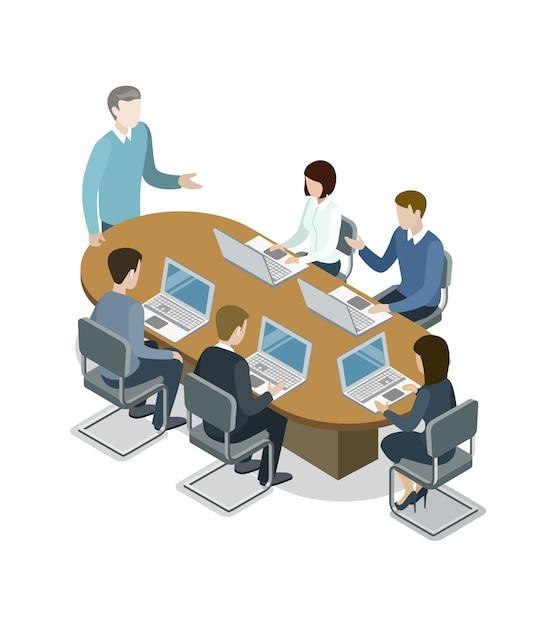 会社のビジネス会議等角投影図 Premiumベクター