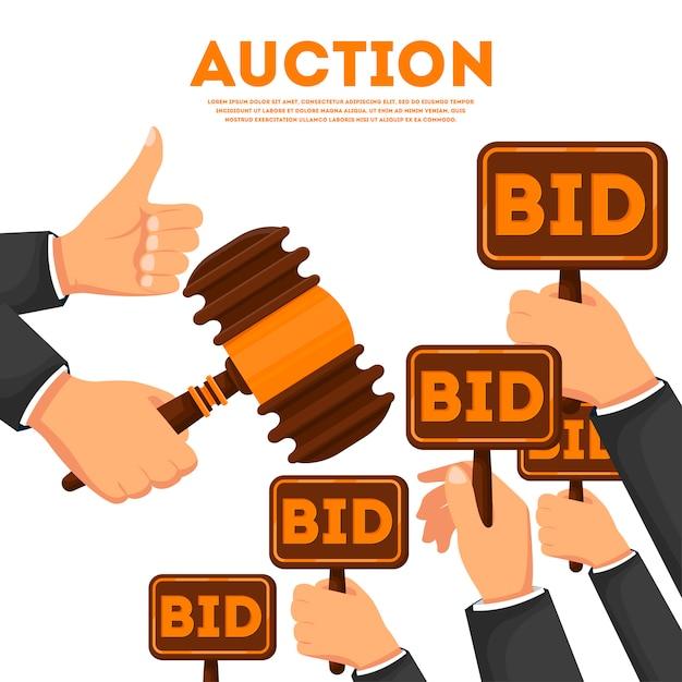 Аукционный плакат с поднятыми руками Premium векторы