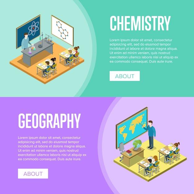 学校バナーテンプレートでの地理と化学のレッスン Premiumベクター