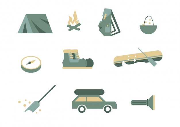 キャンプ用品のシンボル。 Premiumベクター