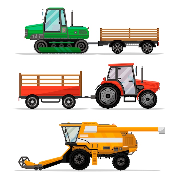 フィールドワーク用の重農業機械。 Premiumベクター