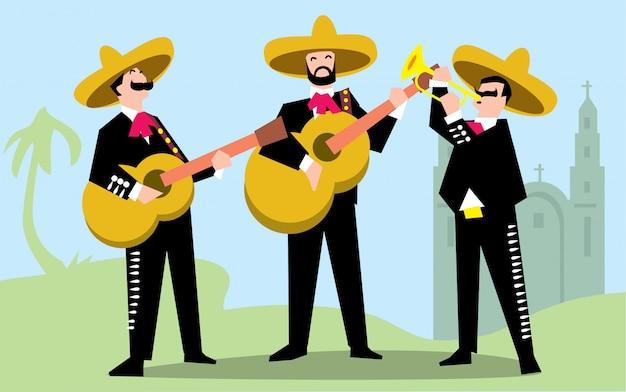 ギターを持つソンブレロのマリアッチバンド。 Premiumベクター