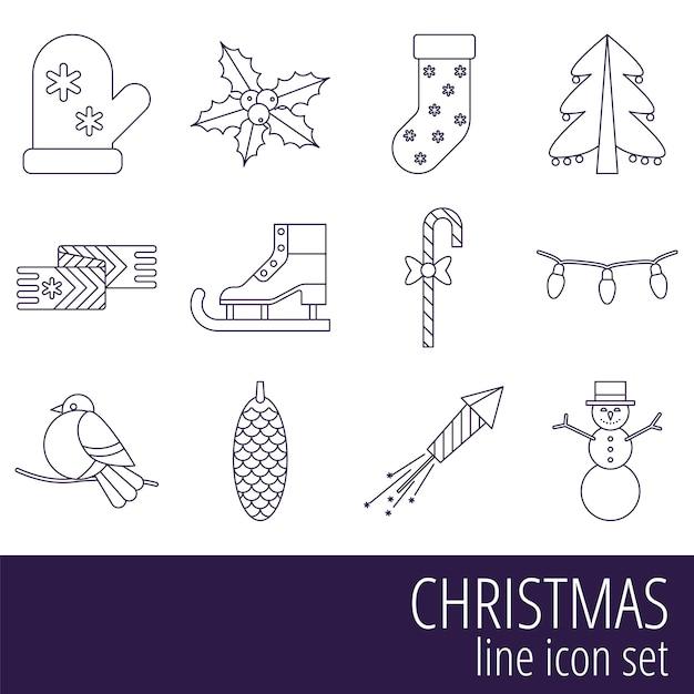 Рождественский набор иконок Premium векторы