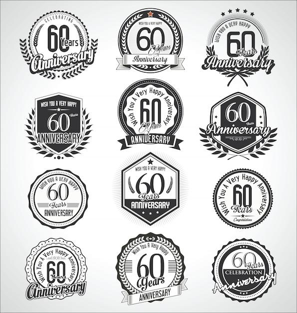 レトロヴィンテージ記念日のバッジやラベルのコレクション Premiumベクター