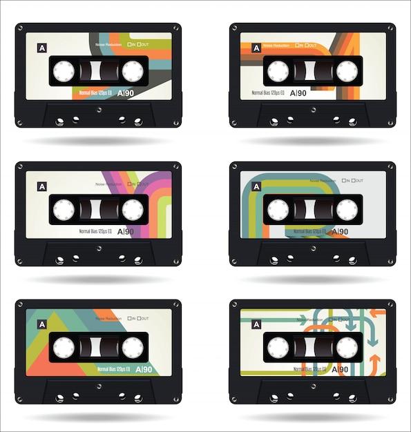 レトロヴィンテージカセットテープは、白い背景を隔離 Premiumベクター
