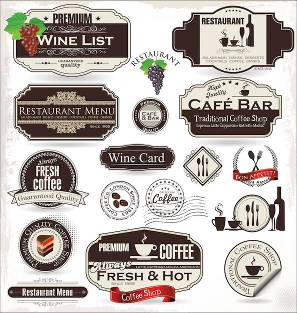 レストランとカフェのラベルセット Premiumベクター