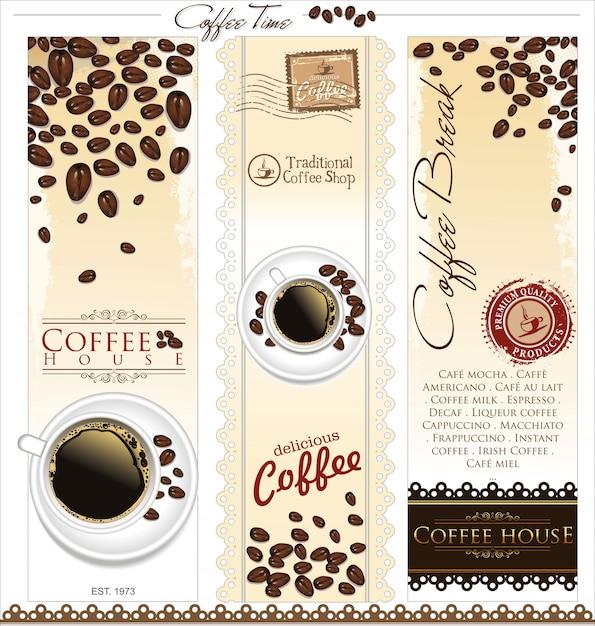 Кофейня фон Premium векторы