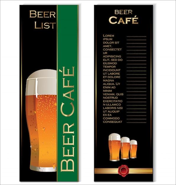 レストランビールメニューデザイン Premiumベクター