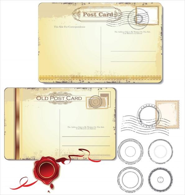 Старая старинная гранжевая открытка назад. векторная иллюстрация Premium векторы