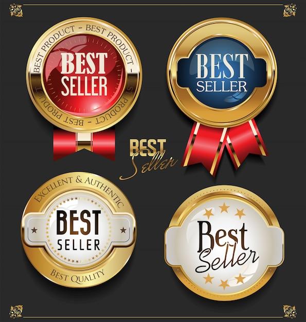Коллекция элегантных золотых премиум бестселлеров этикеток Premium векторы