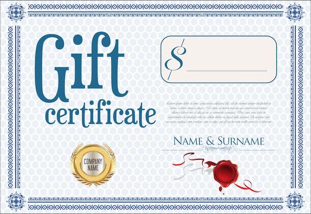 Подарочный сертификат с золотой печатью и дизайнерской каймой Premium векторы