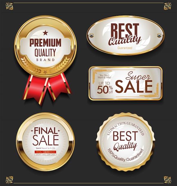 Золотая распродажа этикетки ретро винтаж дизайн коллекции Premium векторы