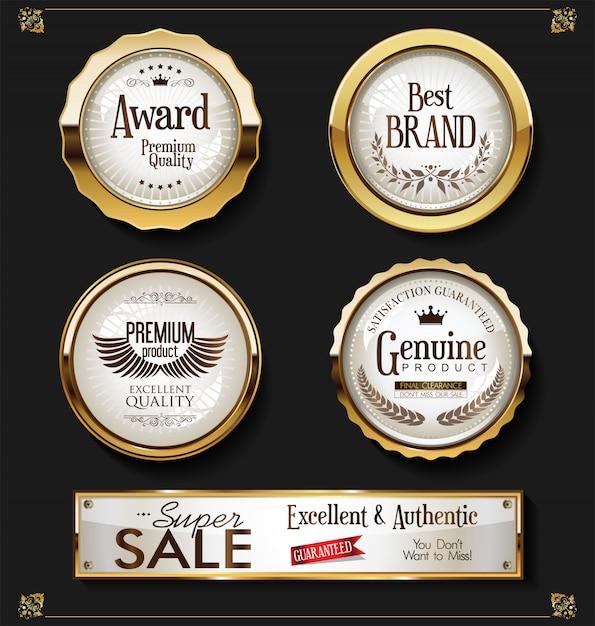 Супер распродажа ретро старинные этикетки векторная коллекция Premium векторы