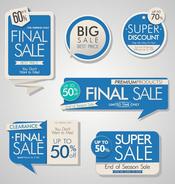 Современная распродажа баннеров и этикеток Premium векторы