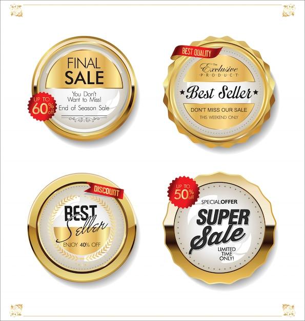 Роскошные премиальные золотые значки и ярлыки Premium векторы