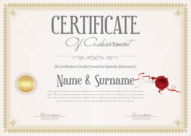 Сертификат достижения ретро-шаблона оформления Premium векторы