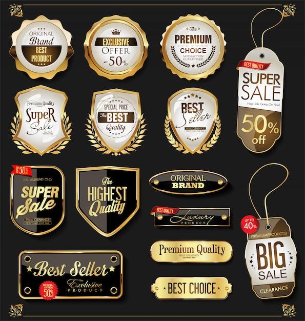ゴールデンセールラベルレトロビンテージデザインコレクション Premiumベクター
