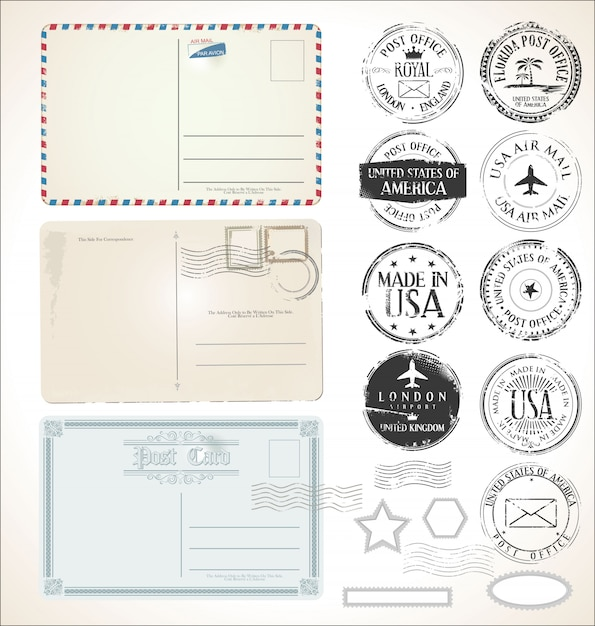 Набор почтовых марок и почтовых открыток Premium векторы