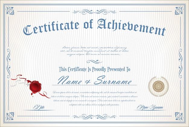 Сертификат или диплом ретро шаблон Premium векторы