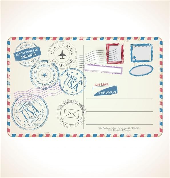 Почтовая марка и почтовая карточка Premium векторы