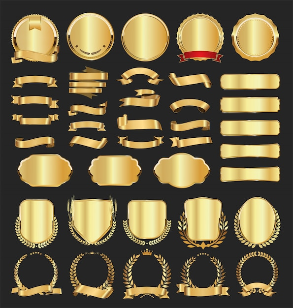ゴールデンバッジラベル月桂樹とリボンのコレクション Premiumベクター