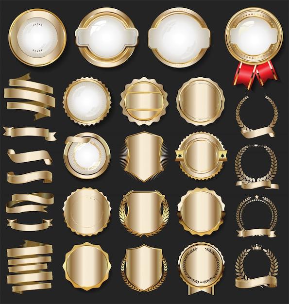 Роскошные золотые элементы дизайна Premium векторы