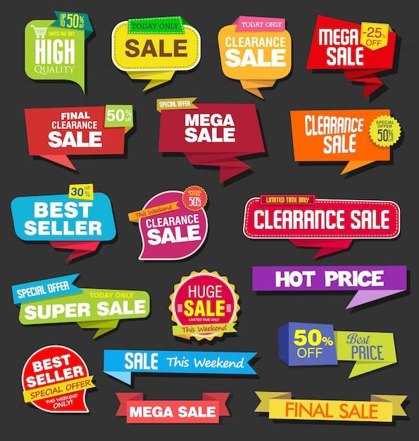 現代のカラフルな販売ステッカーコレクション Premiumベクター