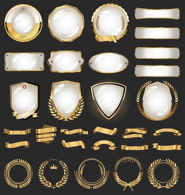 さまざまなリボンの金色のコレクションは、月桂樹と盾にタグを付けます Premiumベクター