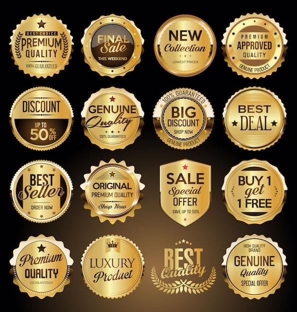 Золотые значки и наклейки премиум-класса Premium векторы
