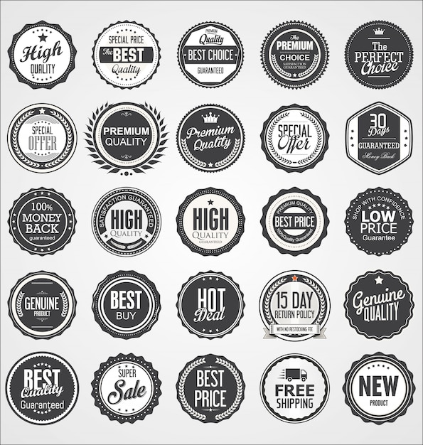 Коллекция ретро винтаж значки Premium векторы