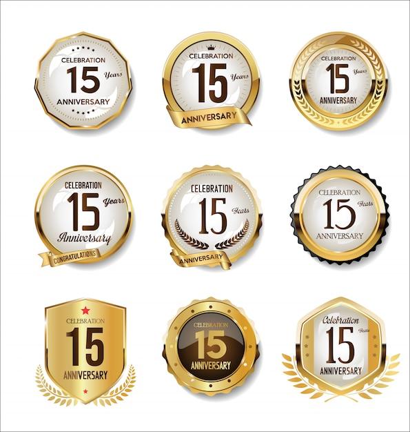 Юбилейная коллекция золотых ретро значков Premium векторы