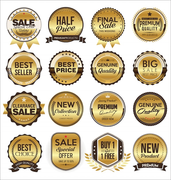 Коллекция золотых плоских этикеток в стиле ретро Premium векторы