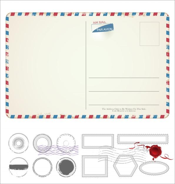 Пустая открытка ретро винтажный дизайн Premium векторы