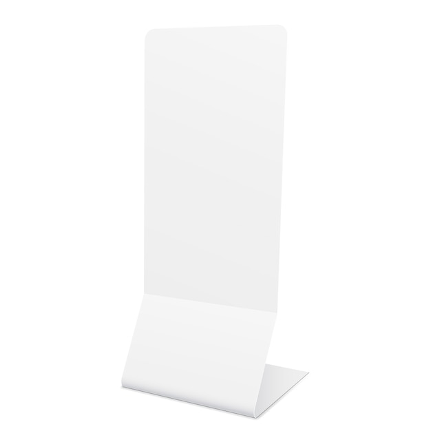白-側面図に分離された空白のスタンドバナーモックアップ。 Premiumベクター