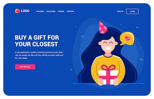 Шаблон сайта для тех, кто хочет подарок. девушка держит подарок и улыбается. день рождения Premium векторы