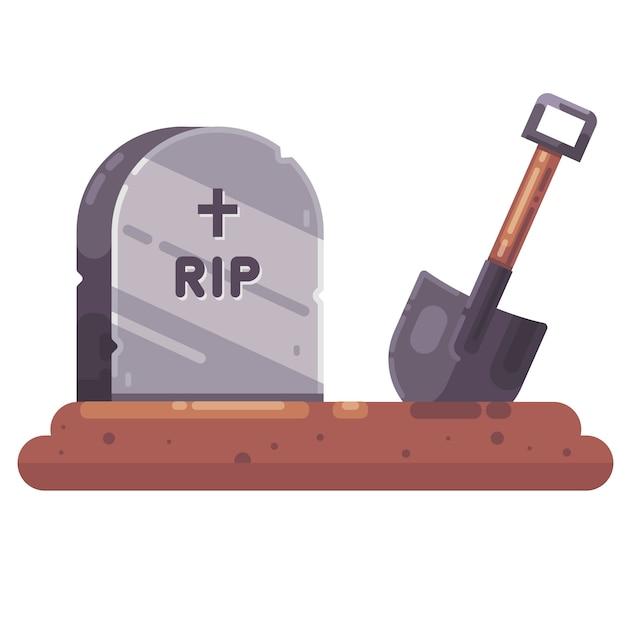Копать могилы. надгробие. дело на кладбище. Premium векторы