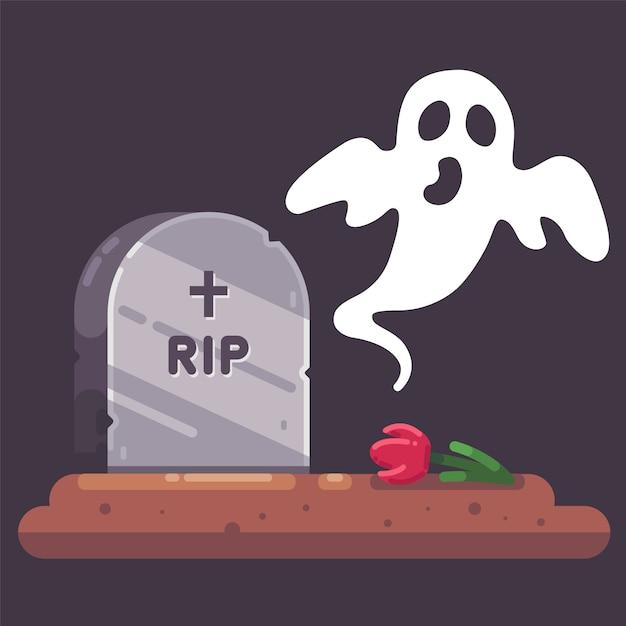 夜に幽霊と墓地の古い墓石 Premiumベクター