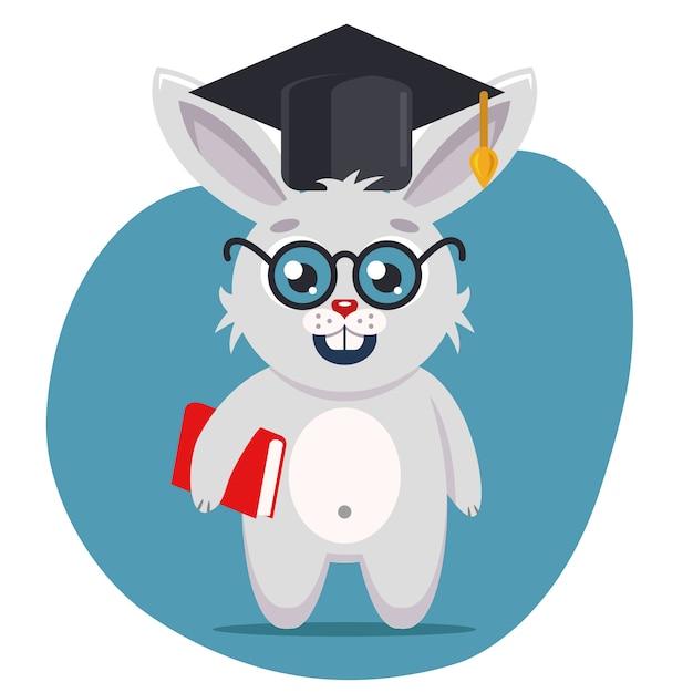帽子とメガネを掛けたスマートなうさぎは、足で本を持って全高に立っています。フラットな文字ベクトルイラスト。 Premiumベクター